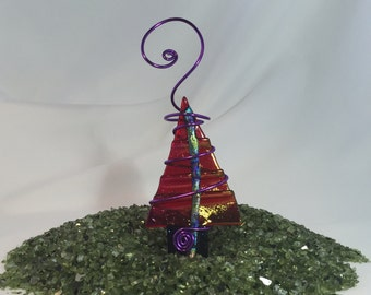 Red Tree - Fused Glass Ornament - Teal and Purple Dichroic Trim