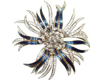 Trifari Rhinestone Brooch, Spectacular Large Chrysanthemum, Alfred Philippe, Signed, Rare, Vintage 1950s