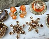 5 Sets Orange Brown Topaz Earrings / Vintage Pieces / Cluster Clips / Unique Re-Design Pieces