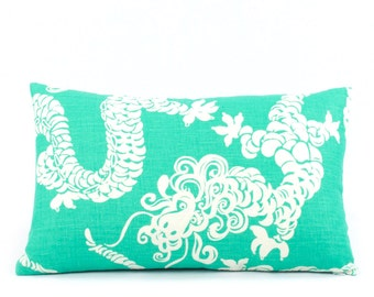 Lilly Pulitzer Dragon Tail Lights Pillow Cover 12x20, Teal Pillow, Green Pillow, Lumbar Pillow, Reversible, Animal Pillow, Lilly Dragon