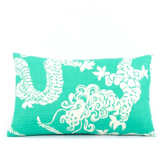Reversible Animal Pillow : Lilly Pulitzer Dragon Tail Lights Pillow Cover 12x20 Teal