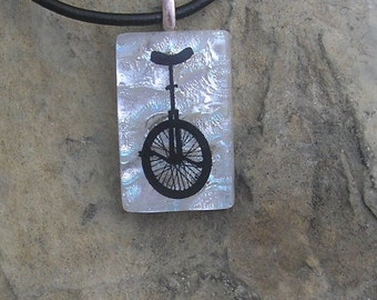 Unicycle Necklace Fused Glass Jewelry Dichroic Glass Unicycle Pendant