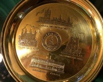 Vintage London Plate. Brass Dish Plate. London Souvenir