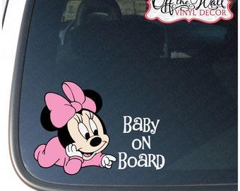 "Baby Minnie ""BABY ON BOARD"" Vinyl Car Decal"