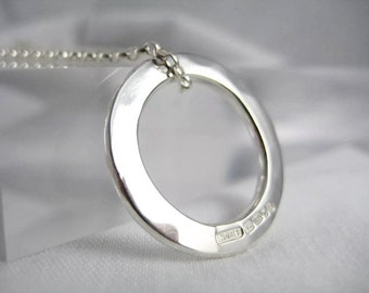 Sterling Silver Hammered Circular Pendant Necklace - Full UK Hallmarks - Handmade By CMcB Jewellery