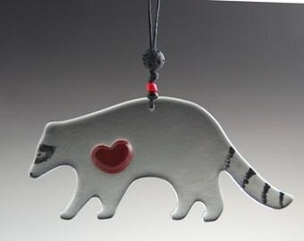 Glass Raccoon Ornament- Original Art Glass~Fused Glass Raccoon-Grey Black and Red