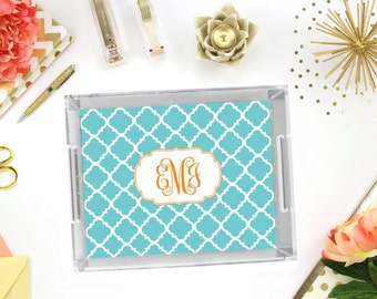 "Personalized Lucite Tray with Monogram - 11"" x 17"" - Custom Acrylic Tray - Vanity Tray - Desk Tray"