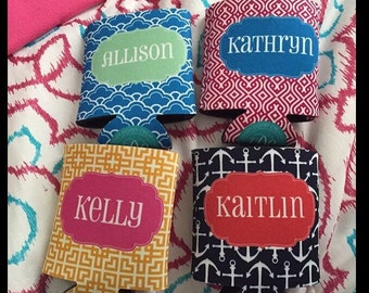 4 Personalized Bachelorette Can Coolers - Bridesmaid/ Bachelorette Favors - Can Coolie Personalized