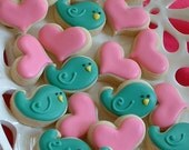 Valentines Day - MINI cookies - 2 dozen mini Valentine cookies - bird and heart cookies