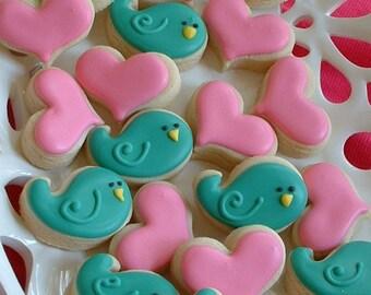 Valentines Day - MINI cookies - 2 dozen mini Valentine cookies - bird and heart cookies