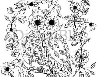 Adult coloring Download Whimsical Owl Adult Coloring Page, Spring Owl Coloring Page, Owl to Color, Line Drawing, Scrapbooking