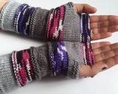 Half Price Hand Knitted Fingerless  Gloves Multicolored