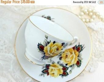 Vintage Teacup, Tea Cup and Saucer, English Bone China, Tea Cup Set, Yellow Rose Cups 11510