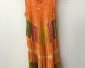 vintage bohemian tie dye dress swim suit cover up