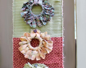 Rustic Wall Hanging, Fabric Hanging, Shabby Chic Decor, Recycled Fabric, Autumn Decor, Gift for Her, Housewarming Gift