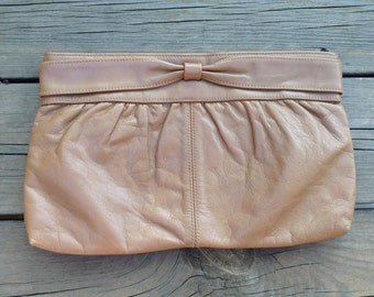 Vintage Brown Leather Clutch Purse