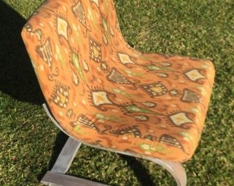 Orange Ikat Vintage 70's Danish Mod Style Lounge Chair