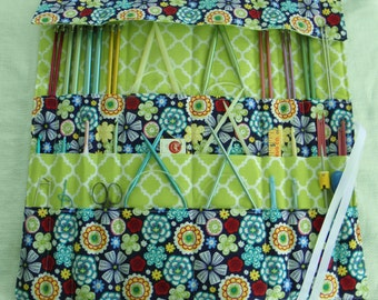 Knitting Needle Organizer, Knitting Needle Case, Knit/Crochet Needle Storage,  30 Pockets, Ready to Ship
