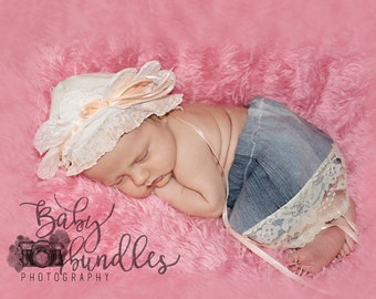 Newborn baby spring floral flower  bonnet photo  props    photography  girl upcycle ooak RTS vintage