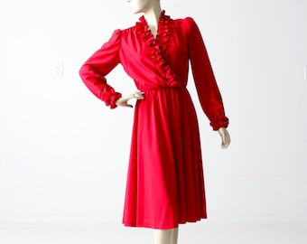 1970s faux wrap dress, vintage ruffle dress