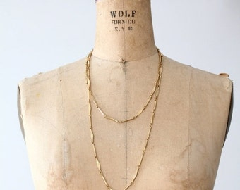 SALE vintage gold link chain, long strand linked chain