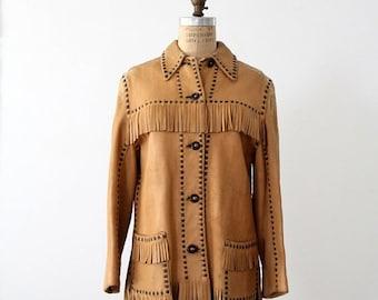 SALE vintage buckskin jacket, fringe leather coat
