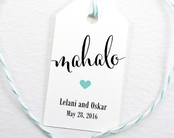 Mahalo, Hawaiian Favor Tag, Luau Party, Island Theme, Destination Wedding, Bridal Shower, Birthday Party, Welcome Tag - Set of 25 (SMGT-CAN)