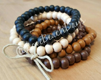 Wood Beaded Stacking Bracelets: set of FIVE Wood Beaded Stretchy Stackable Bracelets