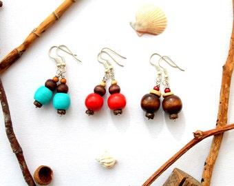 3 SET Earrings WOOD
