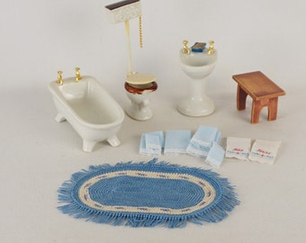 Vintage Dollhouse Ceramic Bathroom Set with Towels