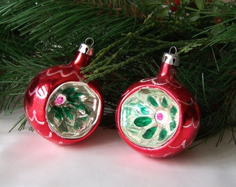 Vintage Glass Christmas Ornaments Glass Ribbed Reflector Poland Indent Ornaments Christmas Tree Ornament Holiday Vintage 1950s