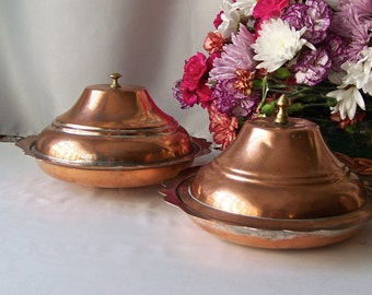 Vintage Turkish Copper Serving Bowls with Lids Two Hand Crafted Turkish Serving Dishes Vintage 1950s