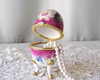 Vintage Trinket Box Egg Shaped Porcelain  Easter Gift Keepsake Box Pink Floral Porcelain Treasure Box Jewelry Box 1990s