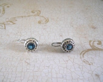 Bezel Set Blue Topaz & Sterling Silver Earrings — December Birthstone