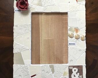 You and Me frame, Mosaic Wedding frame, white frame, New Parent frame