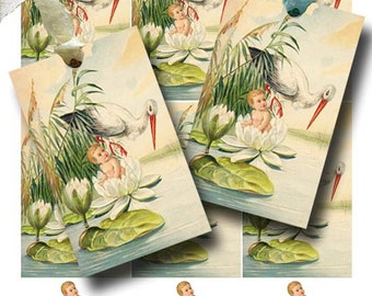 Vintage BABY SHOWER Digital Collage Sheet Instant Download Beautiful Antique Stork Lily Pad Printable Infant Gift Tags by GalleryCat CS300