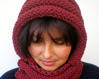 Eternity Bordeaux Color    Hoodie Mixed wool  Yarn Hood Woman Chunky  Hooded Cowl NEW