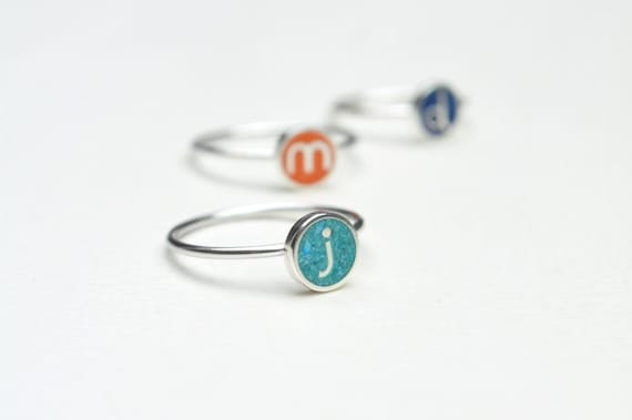 Personalized Ring, Initial Jewelry,  Sterling Silver, Stack Ring, Custom, Color, Contemporary, Modern