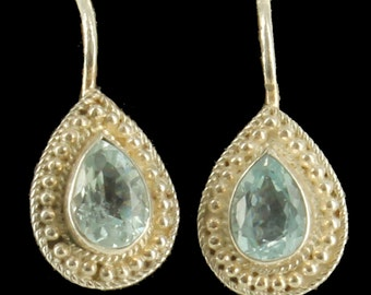 Vintage Sterling Pear Shaped 1.48CTTW Blue Topaz Omega Back Earrings 3/4""