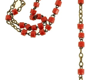 Antique French 3MM Venetian Red Glass Beads Childs Rosary France Sweet!