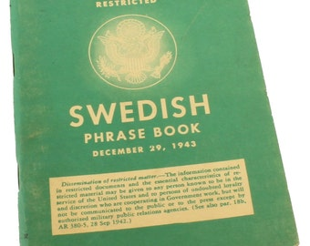 Vintage WWII Military Restricted Swedish Phrase Book December 1943