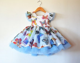 Silk Butterfly Party Dress with Tulle and Crinoline Petticoat