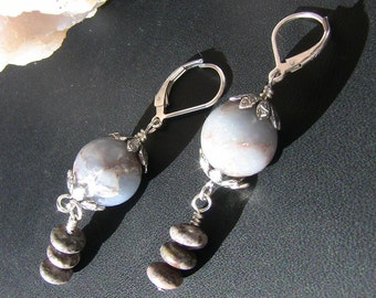 Blue Angelite & Brown Agate Earrings