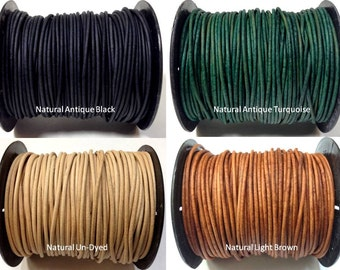 1.8 mm 50 Meters Quality Genuine leather round cord - Natural Antique Rustic Brown Leather and more choice of colors (CIID50) 164 Feet