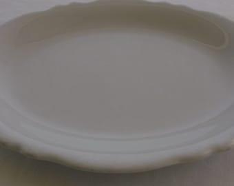 Vintage Platter, Oval Ironstone Platter, Off White Scalloped Edge Platter, Shenango China Restaurant Ware