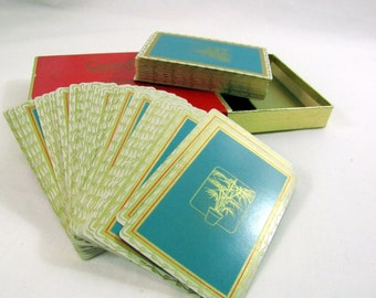 Vintage 1950s Canasta Double Deck Card Set From Roy F Wilcox and Co Tropical Kentia Palms