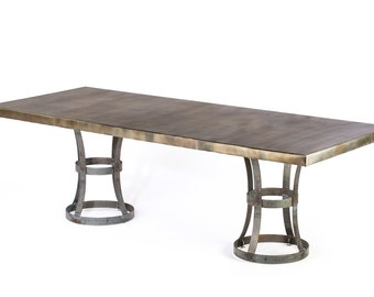 Zinc Table Zinc Dining Table - Madera Zinc Dining Table - Blackened Bronze Finish
