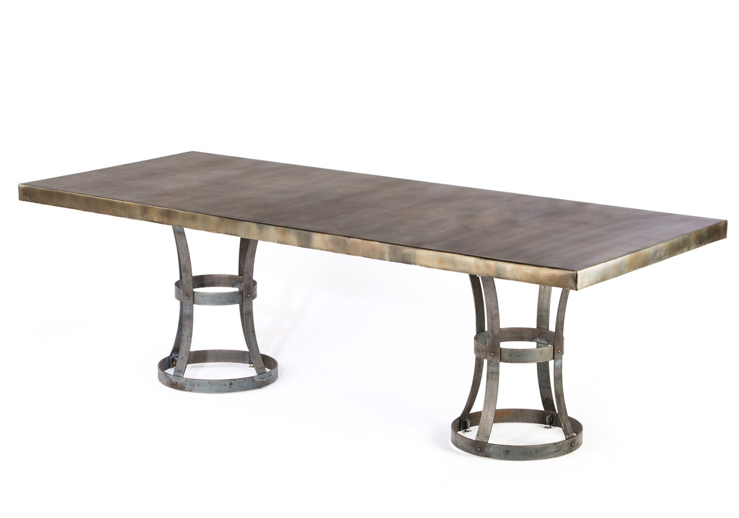 Zinc table zinc dining table madera zinc dining table for Table exterieur zinc