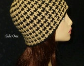 Reserved Listing for gjh7jyc -  Houndstooth Crochet Slouch Beanie, Houndstooth Reversible Hat - Adult - Light Brown and Black