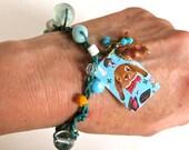 Nathalie Lete Painting Bracelets - Leather Crochet Bracelet - Assemblage Pendant Finding - Hippie Chic